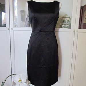 Banana Republic NWT Black Satin Sheath Midi Dress